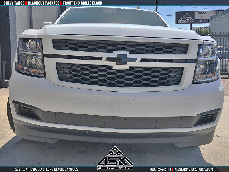 White Chevrolet Tahoe Blackout Front Grille and Emblem