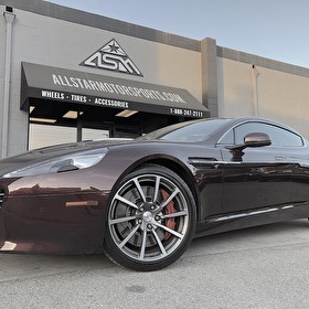 Newport Beach Aston Martin Rapide - Stops by All Star Motorsports Long Beach for Brake Powder Coating!