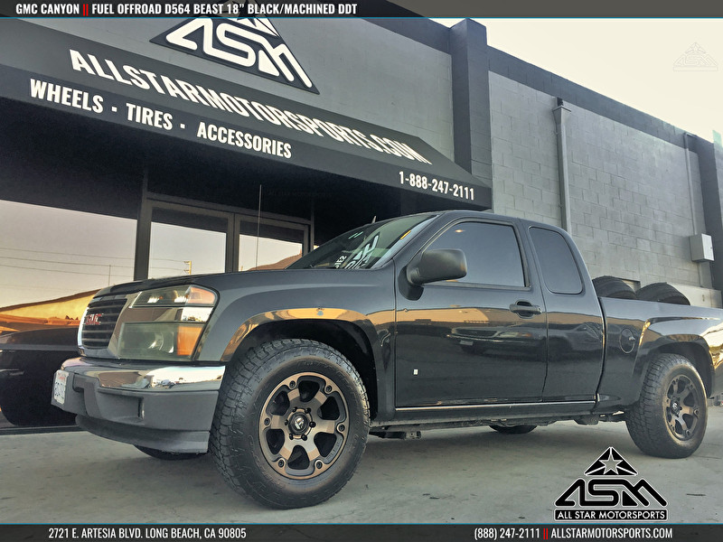 Black GMC Canyon on 18 Inch Fuel Offroad Wheels D564 Beast Black/Machined DDT