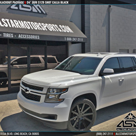 "White Chevrolet Tahoe Blackout on 24"" DUB S129 Shot Calla Gloss Black"