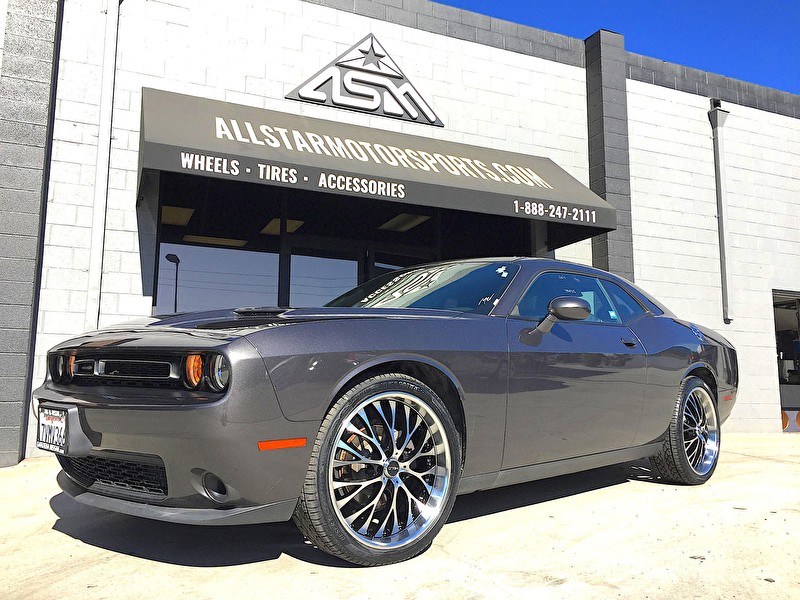 Gardena Nissan Granite Dodge Challenger on 22 Inch Helo HE890 Black and Machined Wheels