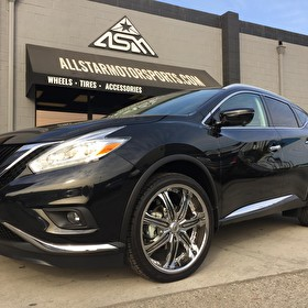 Cerritos Nissan | Black Nissan Murano on 22 Inch Lexani LX-7 Chrome with Black Inserts