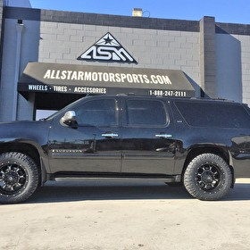 Black Chevy Suburban Leveled | 20x9 Fuel Offroad D517 Krank Black/Milled | 33x12.50R20 Nitto Ridge Grappler