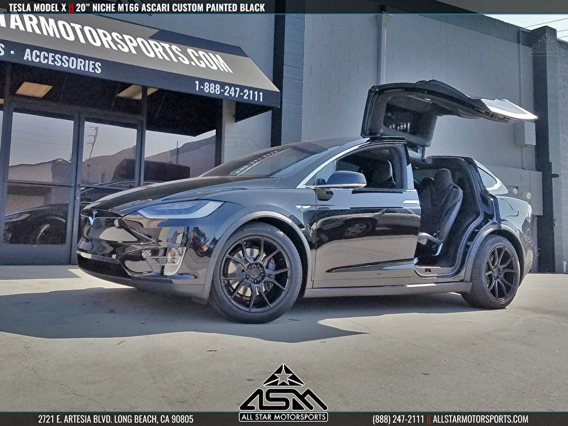 "Black Tesla Model X Falcon Wing Doors | 20"" Niche M166 Ascari Custom Painted Black"