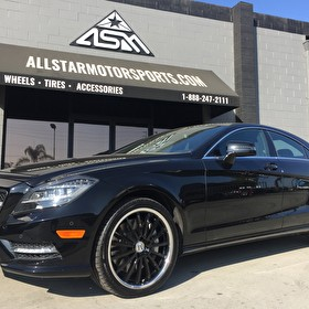 Black 2014 Mercedes CLS | Mandrus Milennium 19 Inch Black Center Chrome LIp