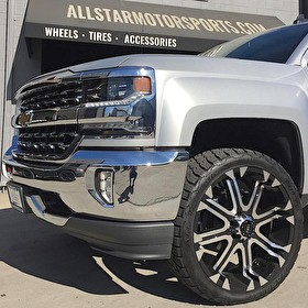 2017 Silverado 1500 with Readly Lift Leveling Kit   24 Inch Tuff Offroad Wheels wrapped in 285/40R24 Nitto Grappler All Terrain Tires