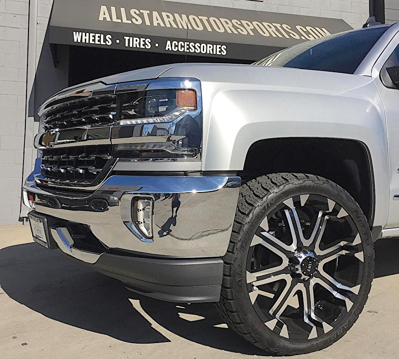 2017 Silverado 1500 with Readly Lift Leveling Kit | 24 Inch Tuff Offroad Wheels wrapped in 285/40R24 Nitto Grappler All Terrain Tires