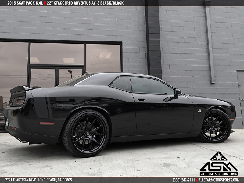 "Dodge Challenger Scat Pack on 22"" Adventus AVS-3 Matte Black Gloss Black Lip"