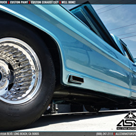 Blue Custom Ford Truck with Custom Side Exhaust