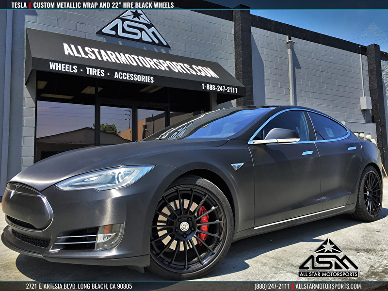 Custom Tesla | Metallic Black-Gray Vehicle Wrap | 22 Inch HRE Wheels Black