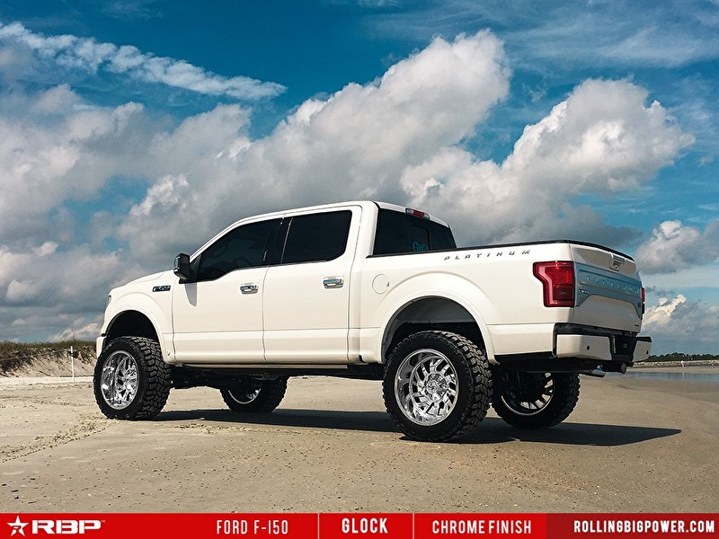 White Ford F150 | 20 Inch RBP Offroad Glock Chrome Wheels Rear Angle