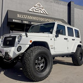 White Jeep Wrangler JK Sahara | Brand New Fuel Offroad Podium Wheels 17x9 Wrapped in Fuel Gripper M/T 37x13.50R17 With Custom Accessories