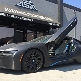 Black Custom Painted BMW i8 with Wrap | Powdercoated Wheels Semi Gloss Black