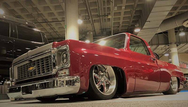 Slammed Chevy Pickup on Custom American Racing Forged Wheels