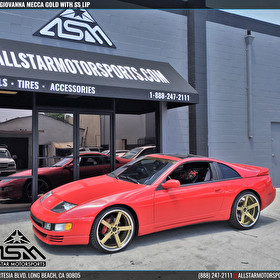 Red Nissan Z | 20 Inch Giovanna Mecca Gold Center SS Lip