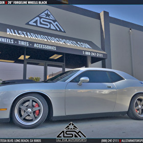 Silver Dodge Challenger | 20 Inch Forgeline Staggered Wheels