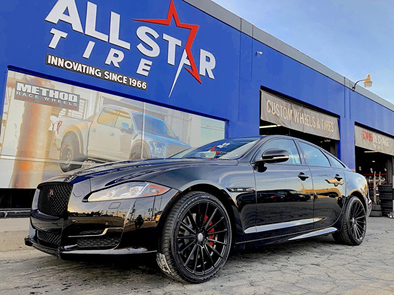 Jaguar Mission Viejo   Blackout Package with Red Trim Custom Calipers   20 Inch Staggered Sporza V5 Gloss Black Wheels   Toyo Proxes T1 Tires