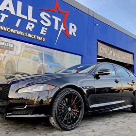 Jaguar Mission Viejo | Blackout Package with Red Trim Custom Calipers | 20 Inch Staggered Sporza V5 Gloss Black Wheels | Toyo Proxes T1 Tires