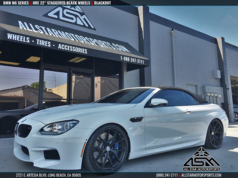 "BMW M6 Series Blackout with 22"" Staggered HRE Wheels"