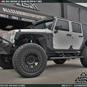"Jeep JK Wrangler with 24"" Fuel D531 Hostage Matte Black and Toyo M/T Tires"