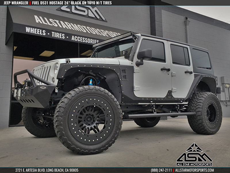"""Jeep JK Wrangler with 24"""" Fuel D531 Hostage Matte Black and Toyo M/T Tires"""