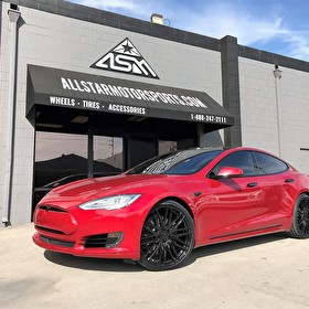 Tesla Model S | After shot | Full Blackout Package | Custom Painted | 22 Inch Niche M164 Anzio Gloss Black