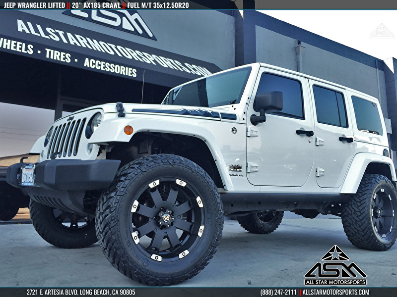 """White Jeep JK Wrangler Lifted with 20"""" ATX Series AX185 Crawl   Fuel Mud Gripper M/T"""