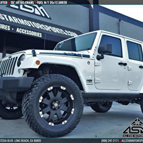 "White Jeep JK Wrangler Lifted with 20"" ATX Series AX185 Crawl 