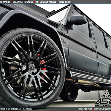 Blacked out mercedes g63 amg g wagon blackout package for Jstar motors anaheim hills