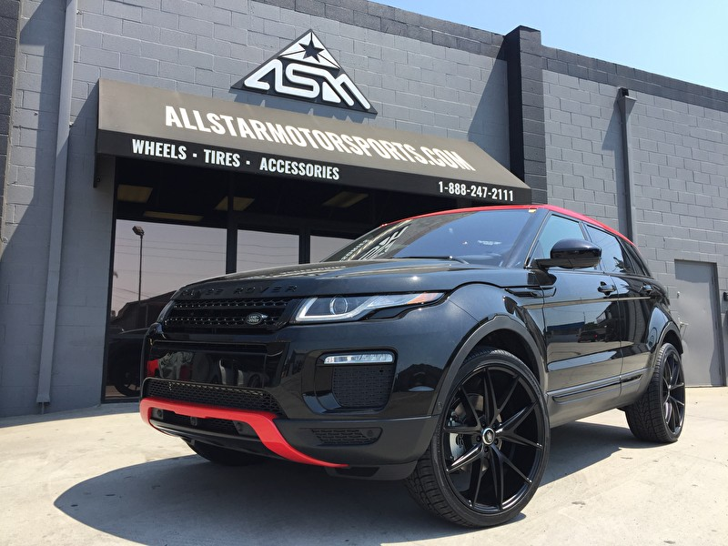 "Range Rover Evoque | Custom Painted Red Roof Front/Rear Bumpers | 22"" Niche Misano Wheels 