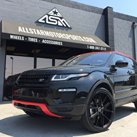 """Range Rover Evoque   Custom Painted Red Roof Front/Rear Bumpers   22"""" Niche Misano Wheels   Nexen 265/35R22 Tires"""