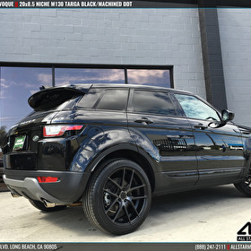 Black Land Rover Range Rover Evoque | Blackout Package | 20x8.5 Niche M130 Targa Black/Machined DDT