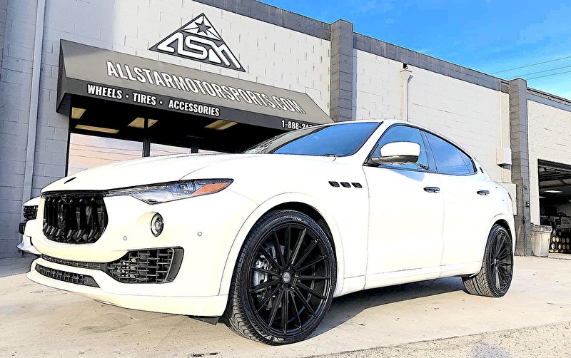 Maserati Levante | Blackout Package and 22 Inch Staggered Sporza Pentagon Black Wheels and Lexani Tires