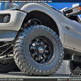 "White Ford F350 Super Duty on 20"" BMF Novakane Stealth Black and Toyo M/T Tires"