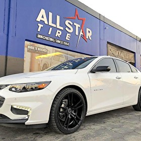 George Chevrolet | White Chevrolet Malibu | 20 Inch Versante Wheels Satin Black on Sumitomo 255/35R20 Tires