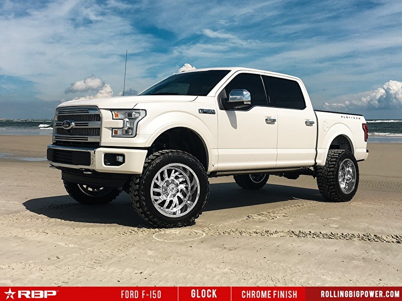 White Ford F150 | 20 Inch RBP Offroad Glock Chrome Wheels