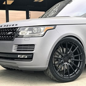 "Custom Range Rover Full Size HSE | Matte Graphite Metallic Wrap | Carbon Blackout Kit | Custom Built 24"" Black Wheels with Emblem"