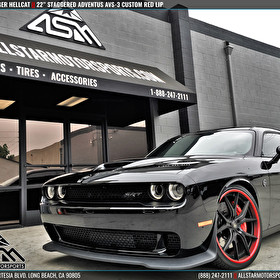 "Dodge Challenger Hellcat on 22"" Staggered Adventus AVS-3 Custom Painted Red Lip"