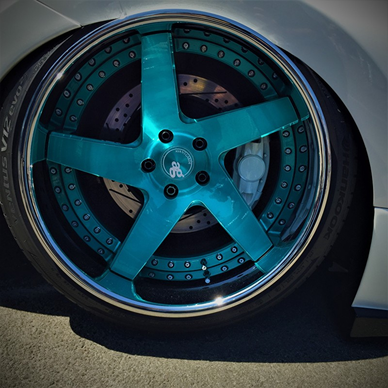 Custom Painted Avant Garde Blue 20 Inch Wheel on Hankook Tires