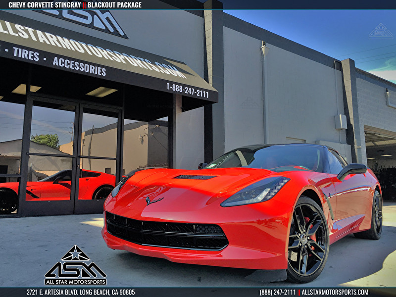 Red Chevrolet Corvette Stingray Blackout Package