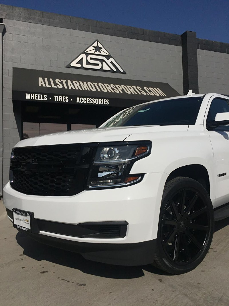 Puente Hills Chevrolet | Front Blackout Package on Chevy Tahoe with 24 Inch Versante Wheels